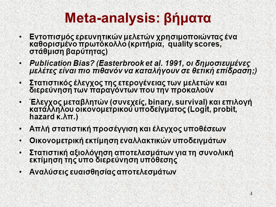5 Συστηματική επισκόπηση: Αριθμός διαθέσιμων μελετών