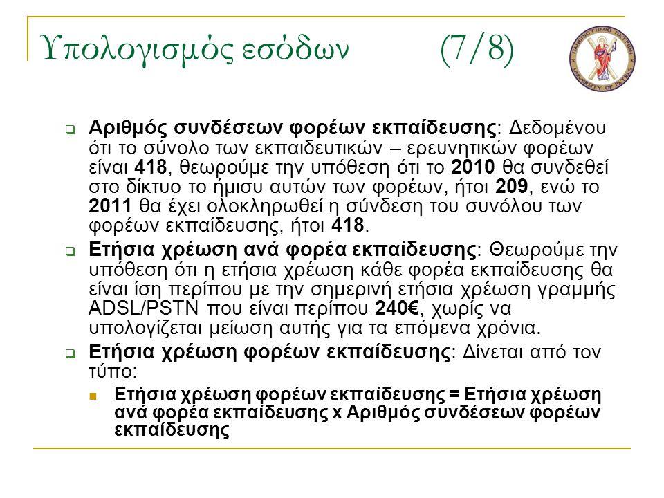 Υπολογισμός εσόδων(7/8)  Αριθμός συνδέσεων φορέων εκπαίδευσης: Δεδομένου ότι το σύνολο των εκπαιδευτικών – ερευνητικών φορέων είναι 418, θεωρούμε την υπόθεση ότι το 2010 θα συνδεθεί στο δίκτυο το ήμισυ αυτών των φορέων, ήτοι 209, ενώ το 2011 θα έχει ολοκληρωθεί η σύνδεση του συνόλου των φορέων εκπαίδευσης, ήτοι 418.