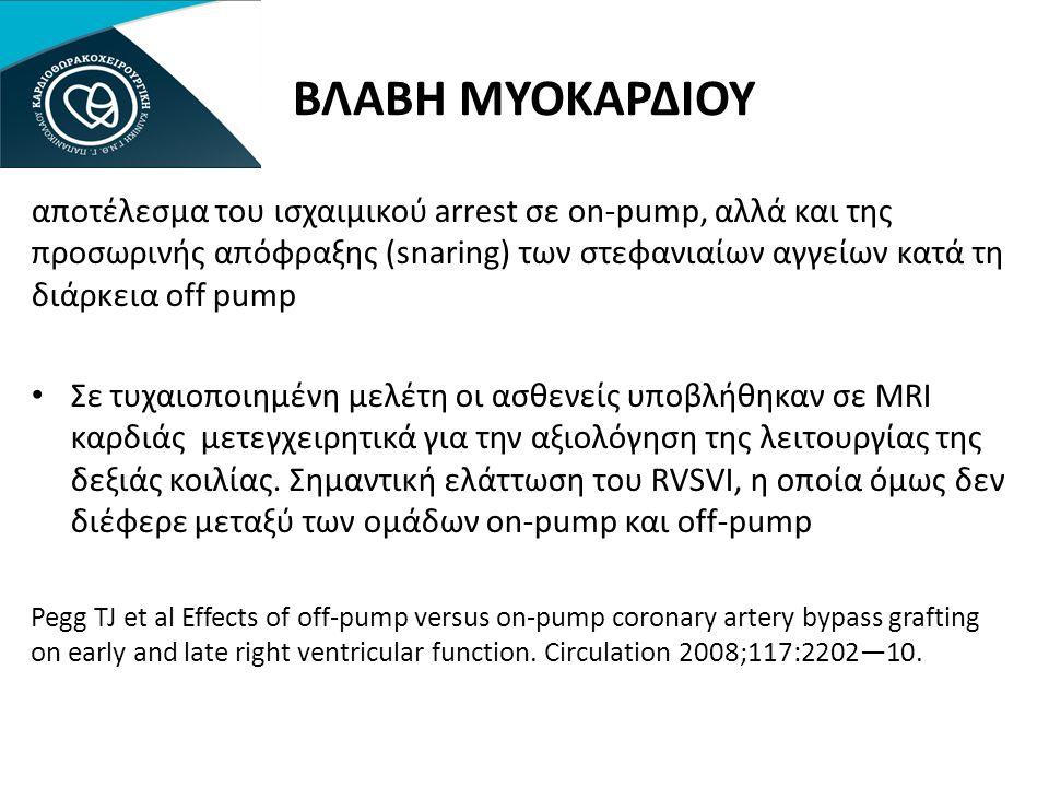 ΒΛΑΒΗ ΜΥΟΚΑΡΔΙΟΥ αποτέλεσμα του ισχαιμικού arrest σε on-pump, αλλά και της προσωρινής απόφραξης (snaring) των στεφανιαίων αγγείων κατά τη διάρκεια off pump • Σε τυχαιοποιημένη μελέτη οι ασθενείς υποβλήθηκαν σε MRI καρδιάς μετεγχειρητικά για την αξιολόγηση της λειτουργίας της δεξιάς κοιλίας.