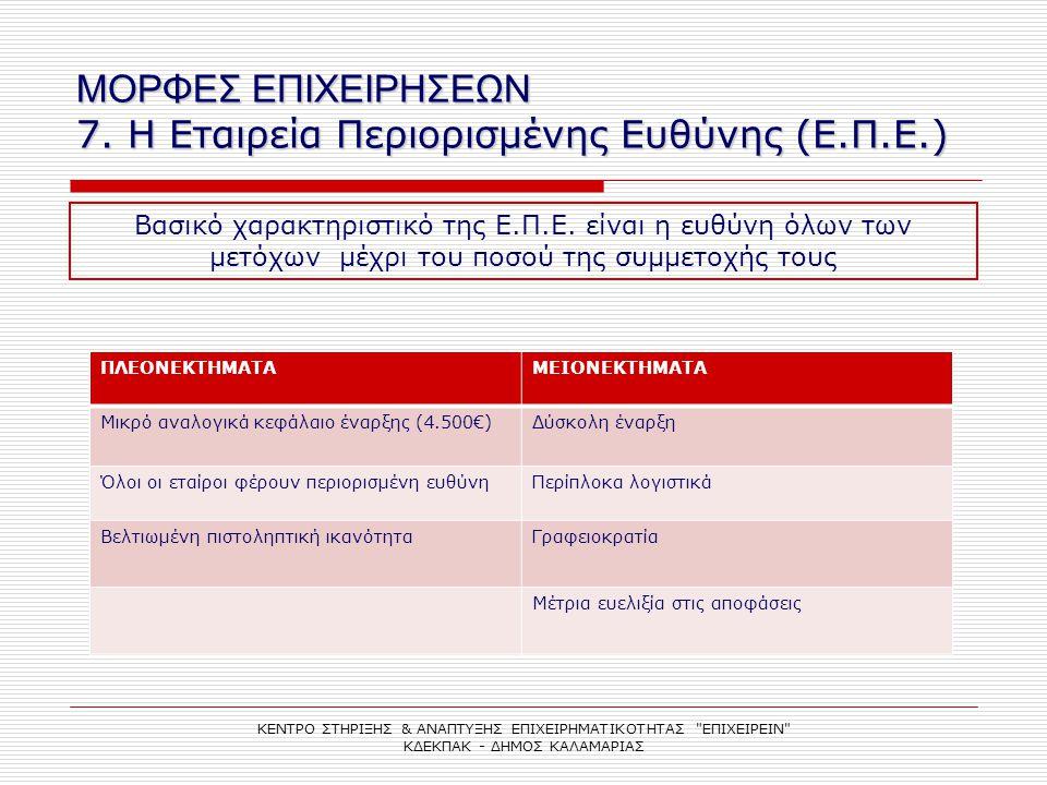 ΜΟΡΦΕΣ ΕΠΙΧΕΙΡΗΣΕΩΝ 7. Η Εταιρεία Περιορισμένης Ευθύνης (Ε.Π.Ε.) ΠΛΕΟΝΕΚΤΗΜΑΤΑΜΕΙΟΝΕΚΤΗΜΑΤΑ Μικρό αναλογικά κεφάλαιο έναρξης (4.500€)Δύσκολη έναρξη Όλ