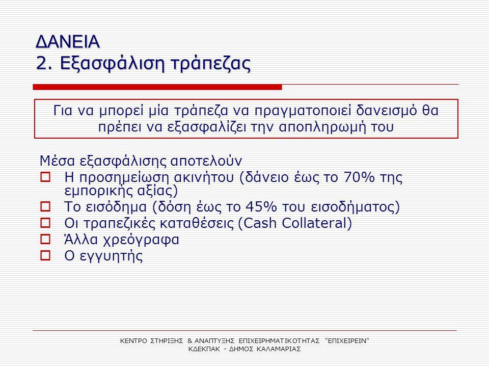 ΔΑΝΕΙΑ 2. Εξασφάλιση τράπεζας ΚΕΝΤΡΟ ΣΤΗΡΙΞΗΣ & ΑΝΑΠΤΥΞΗΣ ΕΠΙΧΕΙΡΗΜΑΤΙΚΟΤΗΤΑΣ
