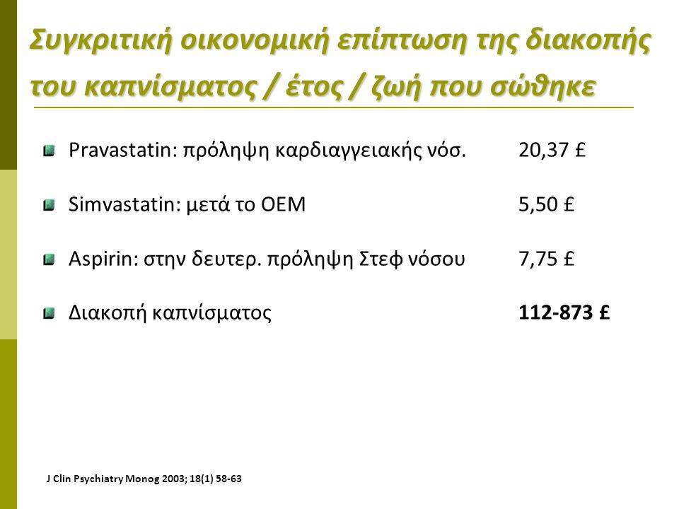 Συγκριτική οικονομική επίπτωση της διακοπής του καπνίσματος / έτος / ζωή που σώθηκε Pravastatin: πρόληψη καρδιαγγειακής νόσ. 20,37 £ Simvastatin: μετά