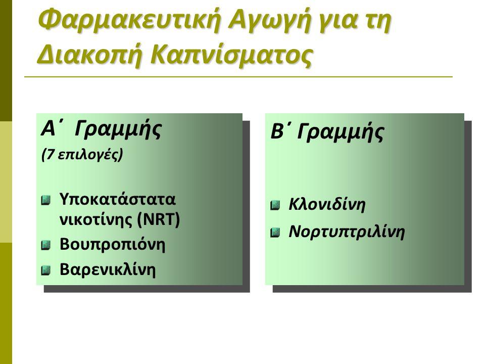 Φαρμακευτική Αγωγή για τη Διακοπή Καπνίσματος Α΄ Γραμμής (7 επιλογές) Υποκατάστατα νικοτίνης (NRT) Βουπροπιόνη Βαρενικλίνη Α΄ Γραμμής (7 επιλογές) Υποκατάστατα νικοτίνης (NRT) Βουπροπιόνη Βαρενικλίνη Β΄ Γραμμής Κλονιδίνη Νορτυπτριλίνη Β΄ Γραμμής Κλονιδίνη Νορτυπτριλίνη
