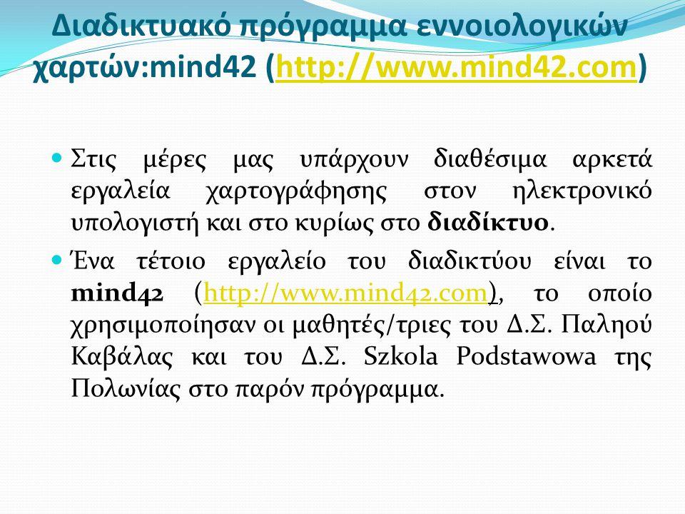 Διαδικτυακό πρόγραμμα εννοιολογικών χαρτών:mind42 (http://www.mind42.com)http://www.mind42.com  Στις μέρες μας υπάρχουν διαθέσιμα αρκετά εργαλεία χαρτογράφησης στον ηλεκτρονικό υπολογιστή και στο κυρίως στο διαδίκτυο.