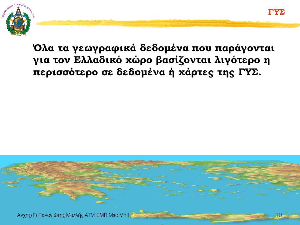 ΓΥΣ Aνχης(Γ) Παναγιώτης Μαλλής ΑΤΜ ΕΜΠ Msc Mhil 10 Όλα τα γεωγραφικά δεδομένα που παράγονται για τον Ελλαδικό χώρο βασίζονται λιγότερο η περισσότερο σ