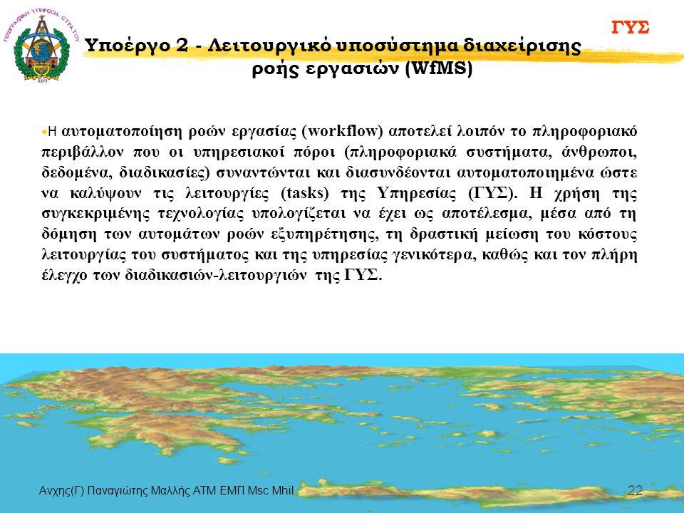 ΓΥΣ Aνχης(Γ) Παναγιώτης Μαλλής ΑΤΜ ΕΜΠ Msc Mhil 22 Υποέργο 2 - Λειτουργικό υποσύστημα διαχείρισης ροής εργασιών (WfMS) •Η αυτοματοποίηση ροών εργασίας