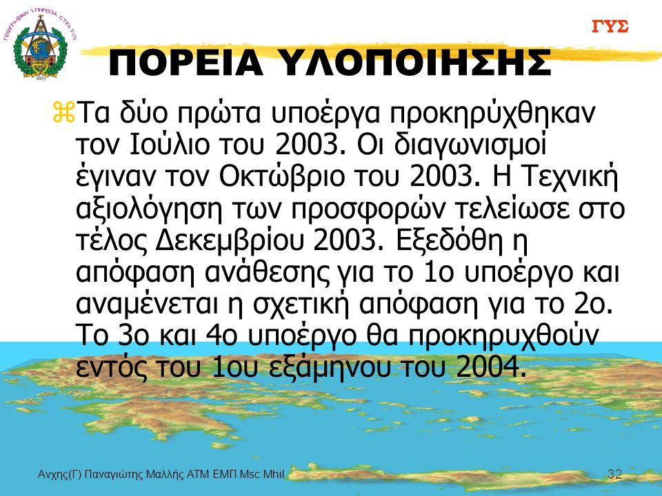 ΓΥΣ Aνχης(Γ) Παναγιώτης Μαλλής ΑΤΜ ΕΜΠ Msc Mhil 32 ΠΟΡΕΙΑ ΥΛΟΠΟΙΗΣΗΣ zΤα δύο πρώτα υποέργα προκηρύχθηκαν τον Ιούλιο του 2003. Οι διαγωνισμοί έγιναν το