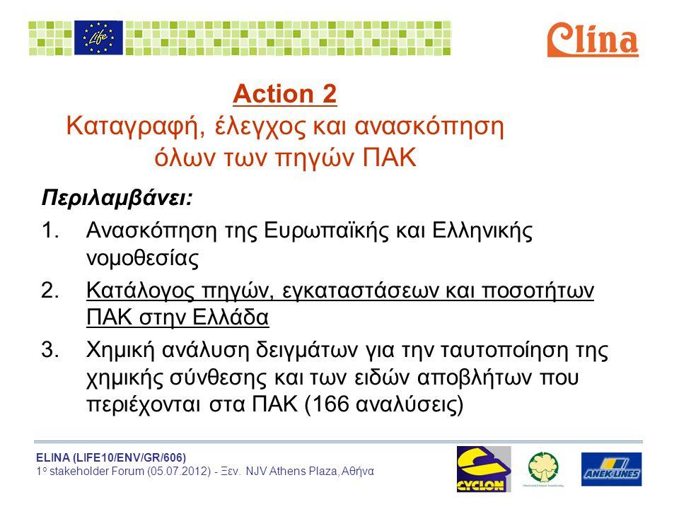 ELINA (LIFE10/ENV/GR/606) 1 ο stakeholder Forum (05.07.2012) - Ξεν. NJV Athens Plaza, Αθήνα Action 2 Καταγραφή, έλεγχος και ανασκόπηση όλων των πηγών