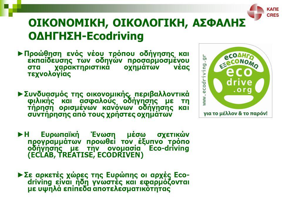 ΟΙΚΟΝΟΜΙΚΗ, ΟΙΚΟΛΟΓΙΚΗ, ΑΣΦΑΛΗΣ ΟΔΗΓΗΣΗ Ecodriving ΕΛΛΑΔΑ Το ΚΑΠΕ ως Εθνικό Ενεργειακό Κέντρο εισήγαγε το νέο τρόπο οδήγησης το 2000 μέσω της συμμετοχής του στο Ευρωπαϊκό δίκτυο «Ecodriving Europe»  Καθιέρωση του όρου Ecodriving για την απόδοση του «έξυπνου» τρόπου οδήγησης  Αναγνώριση του Ecodriving ως μέτρο πολιτικής προτεραιότητας στην agenda της Ε.Ε  Συνέχιση της Ευρωπαϊκής στήριξης μέσω των Ευρωπαϊκών Έργων TREATISE, ECODRIVEN Το ΚΑΠΕ μέσω της συμμετοχής του σε όλες τις Ευρωπαϊκές δράσεις, προωθεί σε εθνικό επίπεδο το Ecodriving  Επιδεικτικό Πρόγραμμα Ecodriving ΕΘΕΛ  Πιλοτικές δράσεις Ecodriving σε εταιρείες εμπορίας πετρελαιοειδών  Σχεδιαζόμενες πιλοτικές δράσεις Ecodriving σε αστικούς στόλους, σε στόλους εταιρειών κοινής ωφέλειας, εταιρικούς ιδιωτικούς στόλους  Σχεδιαζόμενη πιλοτική δράση Ecodriving σε μηχανοδηγούς μέσων σταθερής τροχιάς (ΟΣΕ)