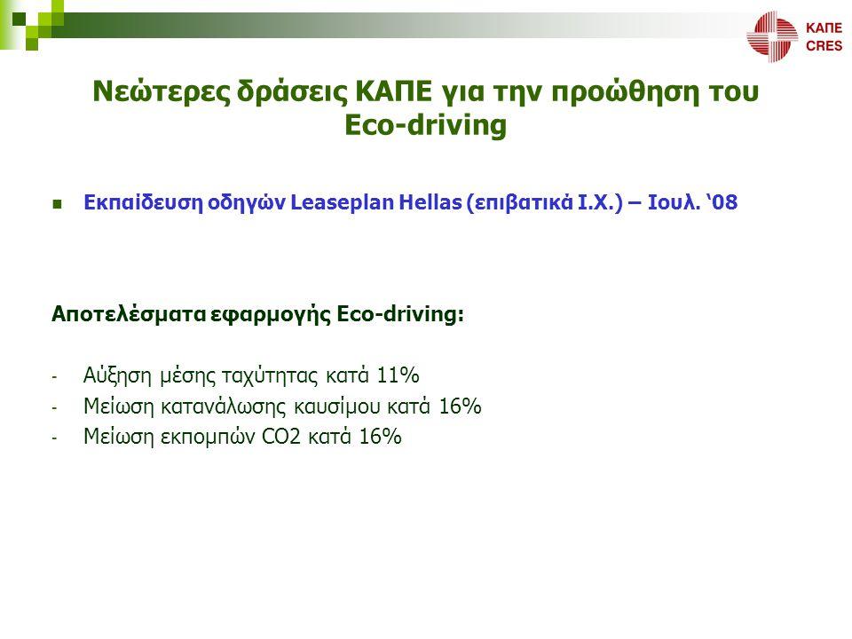 Νεώτερες δράσεις ΚΑΠΕ για την προώθηση του Eco-driving  Εκπαίδευση οδηγών Leaseplan Hellas (επιβατικά Ι.Χ.) – Ιουλ. '08 Αποτελέσματα εφαρμογής Eco-dr