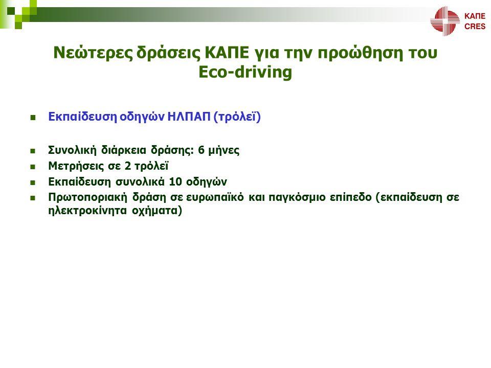 Νεώτερες δράσεις ΚΑΠΕ για την προώθηση του Eco-driving  Εκπαίδευση οδηγών ΗΛΠΑΠ (τρόλεϊ)  Συνολική διάρκεια δράσης: 6 μήνες  Μετρήσεις σε 2 τρόλεϊ