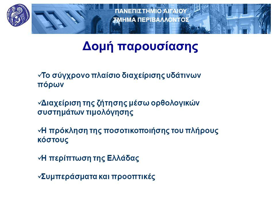ΠΑΝΕΠΙΣΤΗΜΙΟ ΑΙΓΑΙΟΥ ΤΜΗΜΑ ΠΕΡΙΒΑΛΛΟΝΤΟΣ Συμπεράσματα - Προοπτικές  Η πλήρη οικονομική και περιβαλλοντική ανάκτηση, αν και είναι αρκετά σαφής μέσα από την Οδηγία-Πλαίσιο, εν τούτοις η πρακτική εφαρμογή της θα είναι εξαιρετικά δύσκολη.