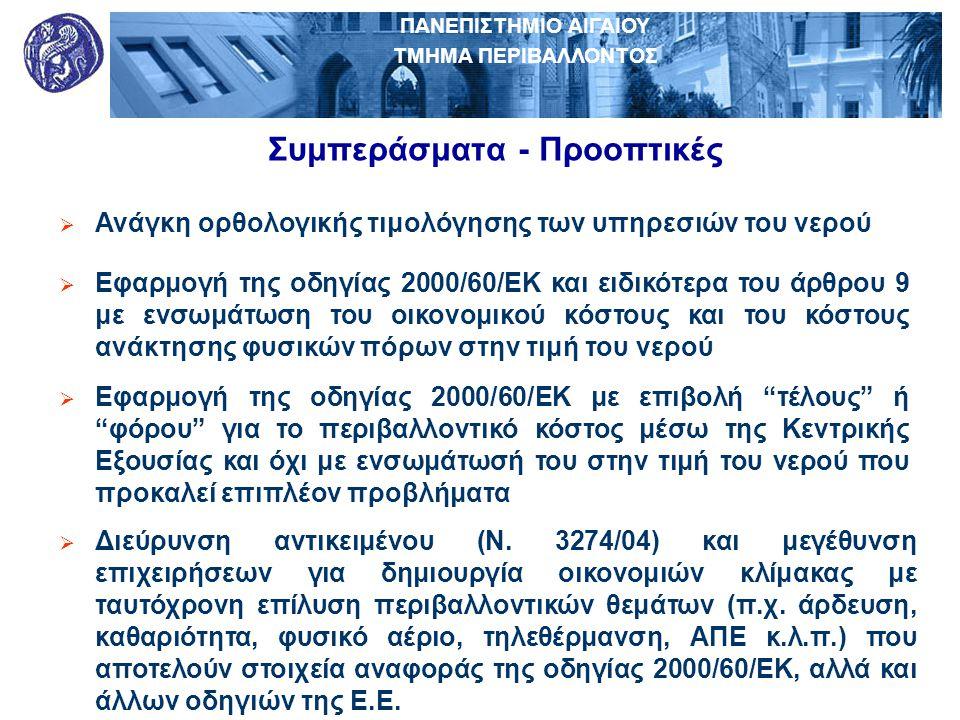 ΠΑΝΕΠΙΣΤΗΜΙΟ ΑΙΓΑΙΟΥ ΤΜΗΜΑ ΠΕΡΙΒΑΛΛΟΝΤΟΣ Συμπεράσματα - Προοπτικές  Ανάγκη ορθολογικής τιμολόγησης των υπηρεσιών του νερού  Εφαρμογή της οδηγίας 200