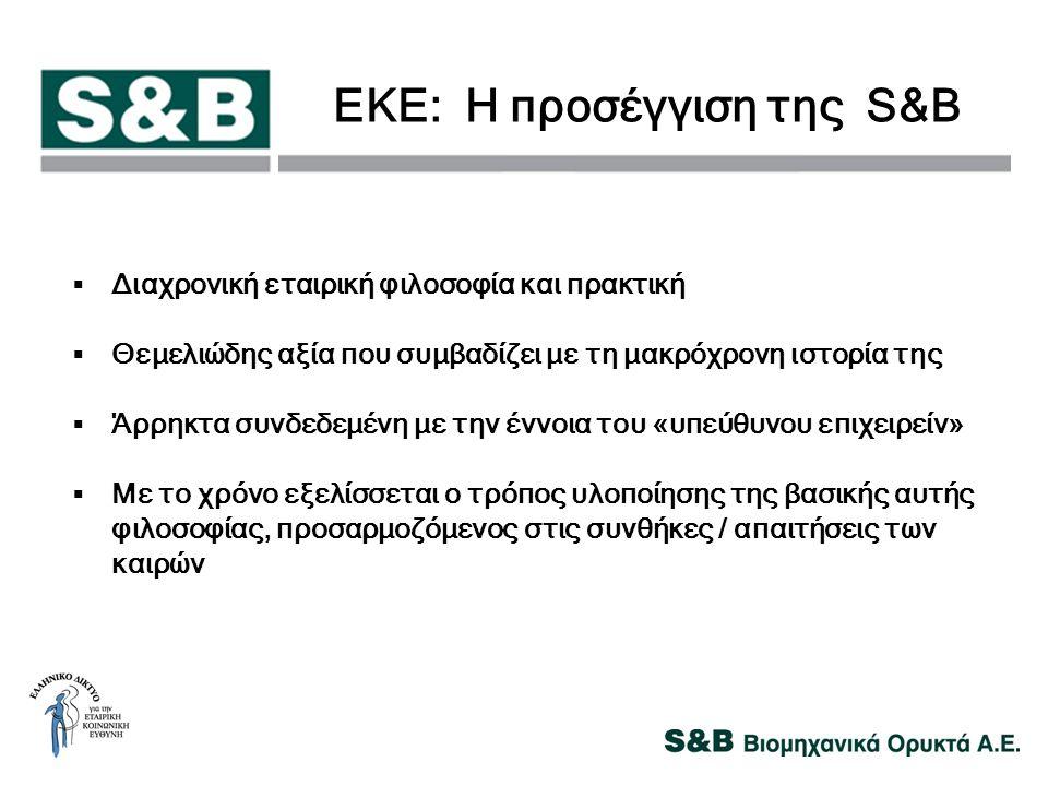 ΕΚΕ: Η προσέγγιση της S&B  Διαχρονική εταιρική φιλοσοφία και πρακτική  Θεμελιώδης αξία που συμβαδίζει με τη μακρόχρονη ιστορία της  Άρρηκτα συνδεδε