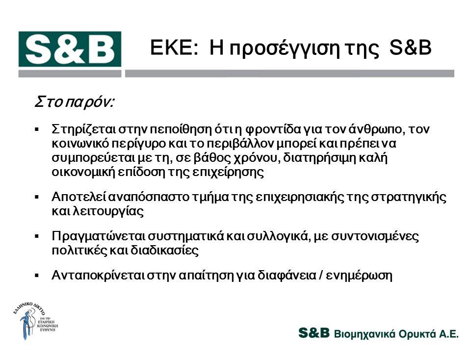 ΕΚΕ: Η προσέγγιση της S&B Στο παρόν:  Στηρίζεται στην πεποίθηση ότι η φροντίδα για τον άνθρωπο, τον κοινωνικό περίγυρο και το περιβάλλον μπορεί και π