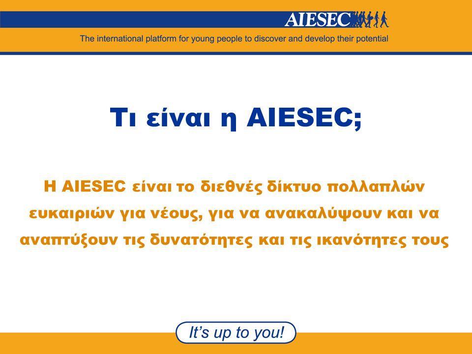 Τι είναι η AIESEC; Η AIESEC είναι το διεθνές δίκτυο πολλαπλών ευκαιριών για νέους, για να ανακαλύψουν και να αναπτύξουν τις δυνατότητες και τις ικανότ