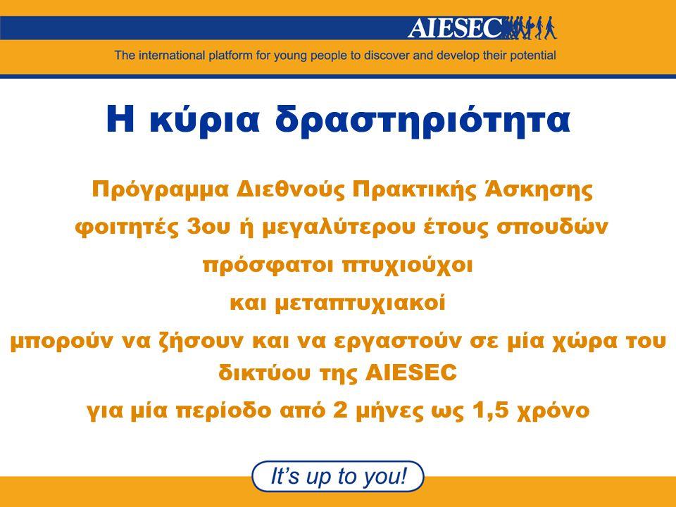 Η κύρια δραστηριότητα Πρόγραμμα Διεθνούς Πρακτικής Άσκησης φοιτητές 3ου ή μεγαλύτερου έτους σπουδών πρόσφατοι πτυχιούχοι και μεταπτυχιακοί μπορούν να