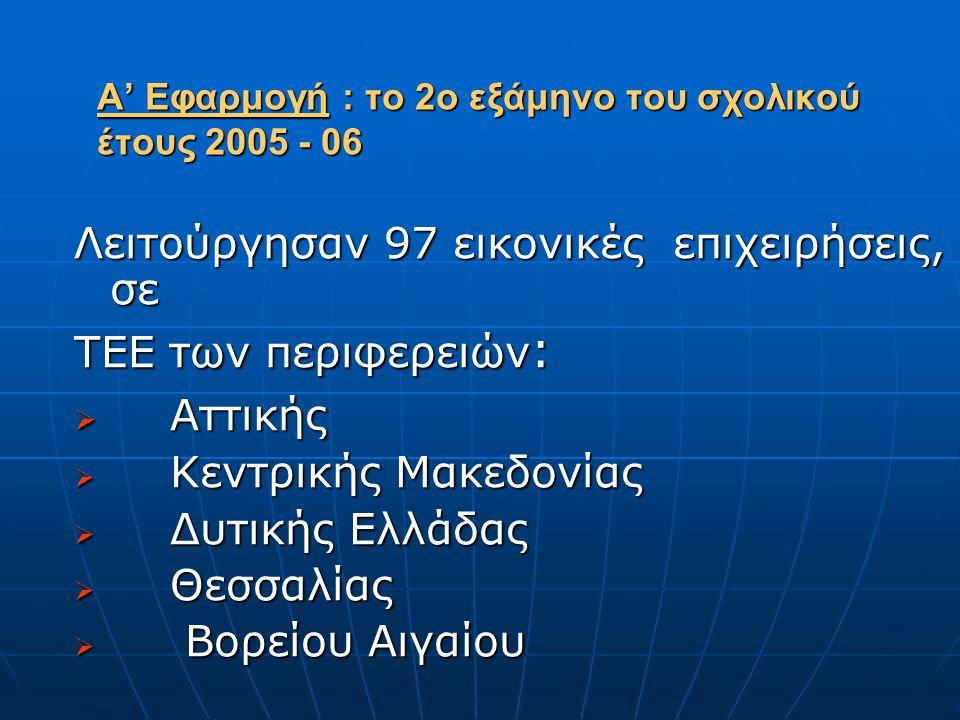 Α' Εφαρμογή : το 2ο εξάμηνο του σχολικού έτους 2005 - 06 Λειτούργησαν 97 εικονικές επιχειρήσεις, σε ΤΕΕ των περιφερειών :  Αττικής  Κεντρικής Μακεδονίας  Δυτικής Ελλάδας  Θεσσαλίας  Βορείου Αιγαίου