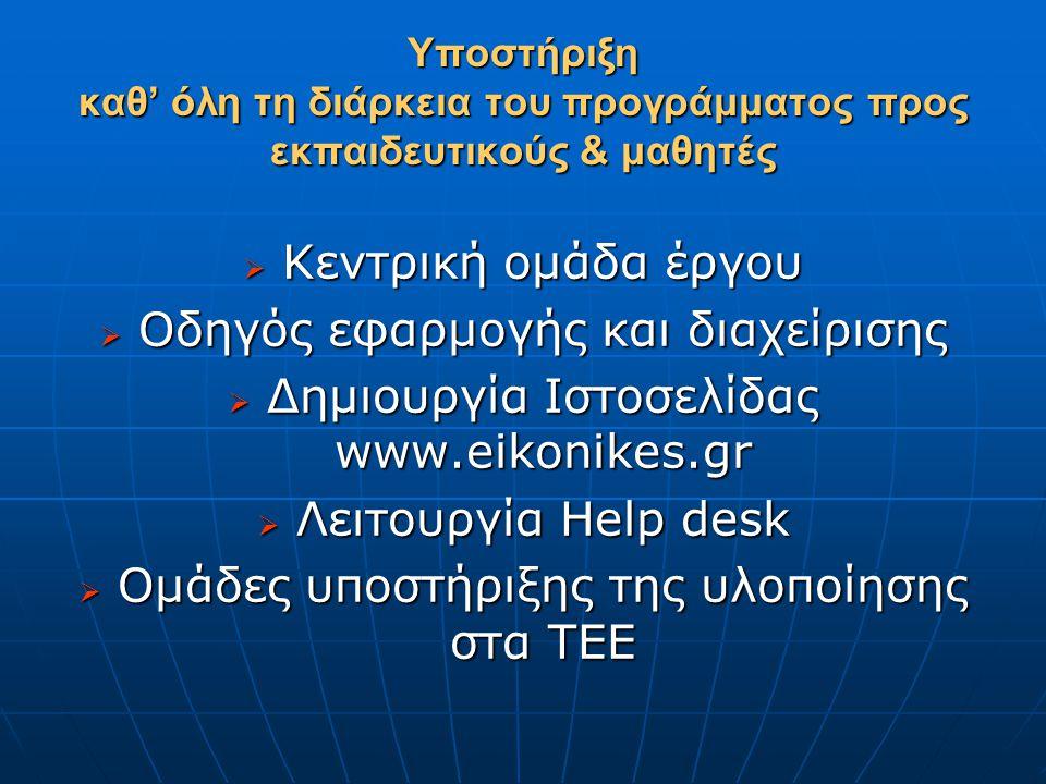 Υποστήριξη καθ' όλη τη διάρκεια του προγράμματος προς εκπαιδευτικούς & μαθητές  Κεντρική ομάδα έργου  Οδηγός εφαρμογής και διαχείρισης  Δημιουργία Ιστοσελίδας www.eikonikes.gr  Λειτουργία Help desk  Ομάδες υποστήριξης της υλοποίησης στα ΤΕΕ