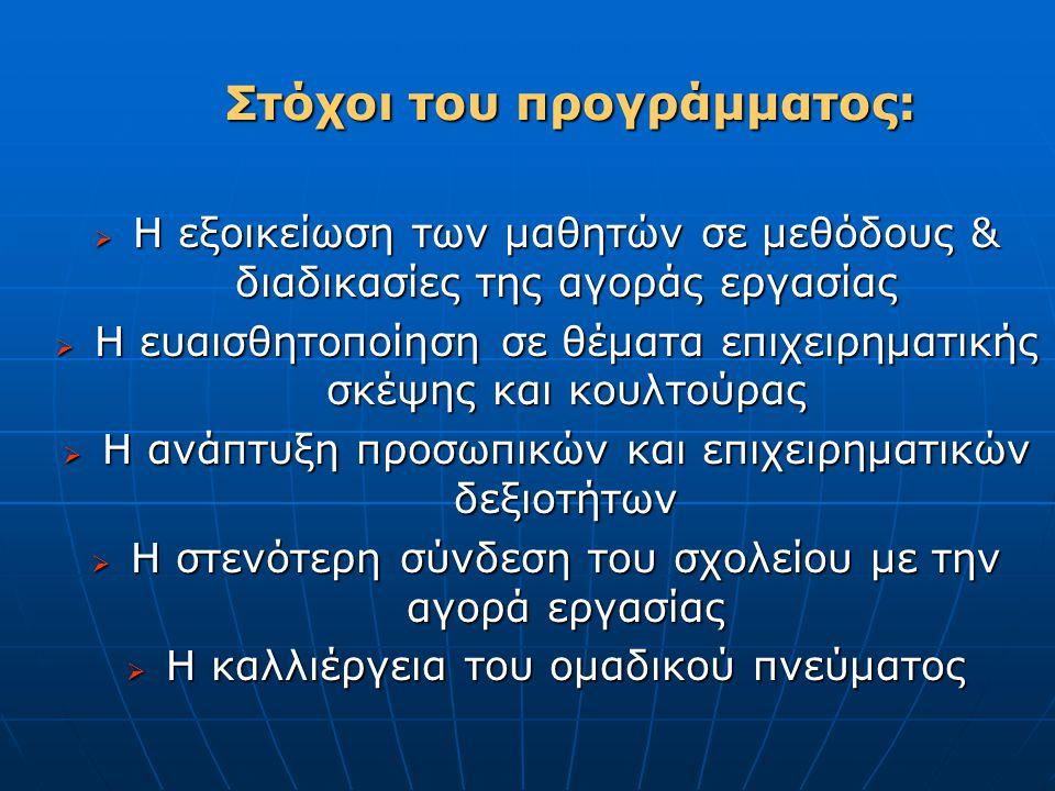 Στόχοι του προγράμματος: Στόχοι του προγράμματος:  Η εξοικείωση των μαθητών σε μεθόδους & διαδικασίες της αγοράς εργασίας  Η ευαισθητοποίηση σε θέμα
