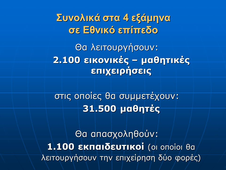 Συνολικά στα 4 εξάμηνα σε Εθνικό επίπεδο Θα λειτουργήσουν: 2.100 εικονικές – μαθητικές επιχειρήσεις στις οποίες θα συμμετέχουν: 31.500 μαθητές 31.500 μαθητές Θα απασχοληθούν: 1.100 εκπαιδευτικοί (οι οποίοι θα λειτουργήσουν την επιχείρηση δύο φορές)