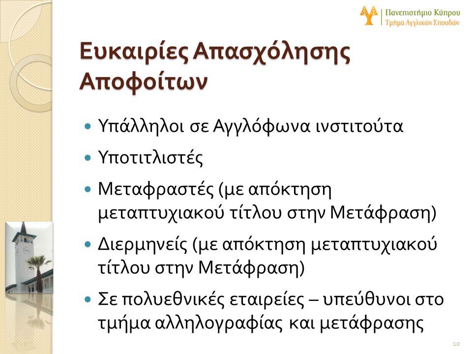  Υπάλληλοι σε Αγγλόφωνα ινστιτούτα  Υποτιτλιστές  Μεταφραστές ( με απόκτηση μεταπτυχιακού τίτλου στην Μετάφραση )  Διερμηνείς ( με απόκτηση μεταπτ