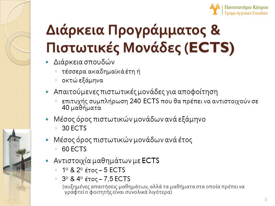 Διάρκεια Προγράμματος & Πιστωτικές Μονάδες (ECTS)  Διάρκεια σπουδών ◦ τέσσερα ακαδημαϊκά έτη ή ◦ οκτώ εξάμηνα  Απαιτούμενες πιστωτικές μονάδες για α
