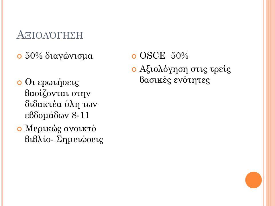Α ΞΙΟΛΌΓΗΣΗ 50% διαγώνισμα Οι ερωτήσεις βασίζονται στην διδακτέα ύλη των εβδομάδων 8-11 Μερικώς ανοικτό βιβλίο- Σημειώσεις OSCE 50% Αξιολόγηση στις τρείς βασικές ενότητες