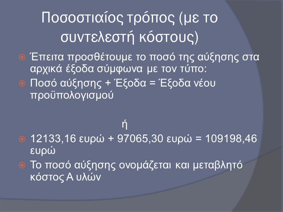 Ποσοστιαίος τρόπος (με το συντελεστή κόστους)  Έπειτα προσθέτουμε το ποσό της αύξησης στα αρχικά έξοδα σύμφωνα με τον τύπο:  Ποσό αύξησης + Έξοδα =