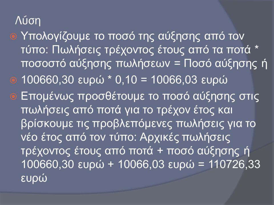 Λύση  Υπολογίζουμε το ποσό της αύξησης από τον τύπο: Πωλήσεις τρέχοντος έτους από τα ποτά * ποσοστό αύξησης πωλήσεων = Ποσό αύξησης ή  100660,30 ευρ