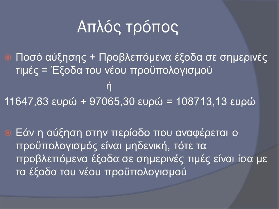Απλός τρόπος  Ποσό αύξησης + Προβλεπόμενα έξοδα σε σημερινές τιμές = Έξοδα του νέου προϋπολογισμού ή 11647,83 ευρώ + 97065,30 ευρώ = 108713,13 ευρώ 