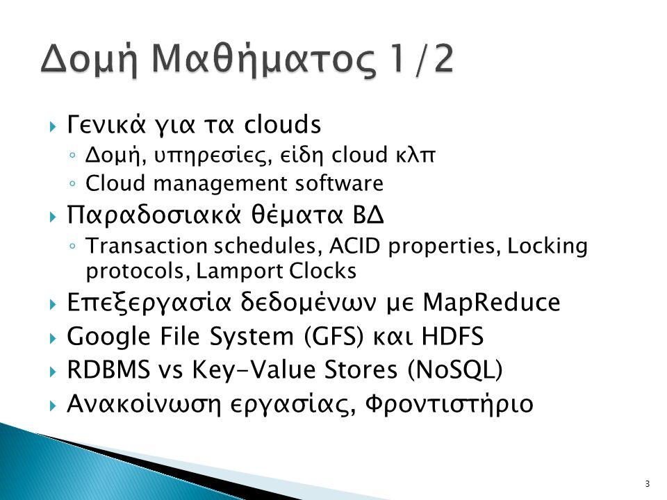  Γενικά για τα clouds ◦ Δομή, υπηρεσίες, είδη cloud κλπ ◦ Cloud management software  Παραδοσιακά θέματα ΒΔ ◦ Transaction schedules, ACID properties,