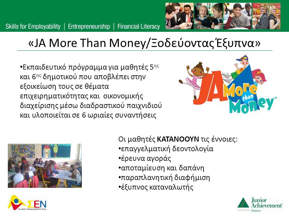 «JA More Than Money/Ξοδεύοντας Έξυπνα» Οι μαθητές ΚΑΤΑΝΟΟΥΝ τις έννοιες: • επαγγελματική δεοντολογία • έρευνα αγοράς • αποταμίευση και δαπάνη • παραπλ
