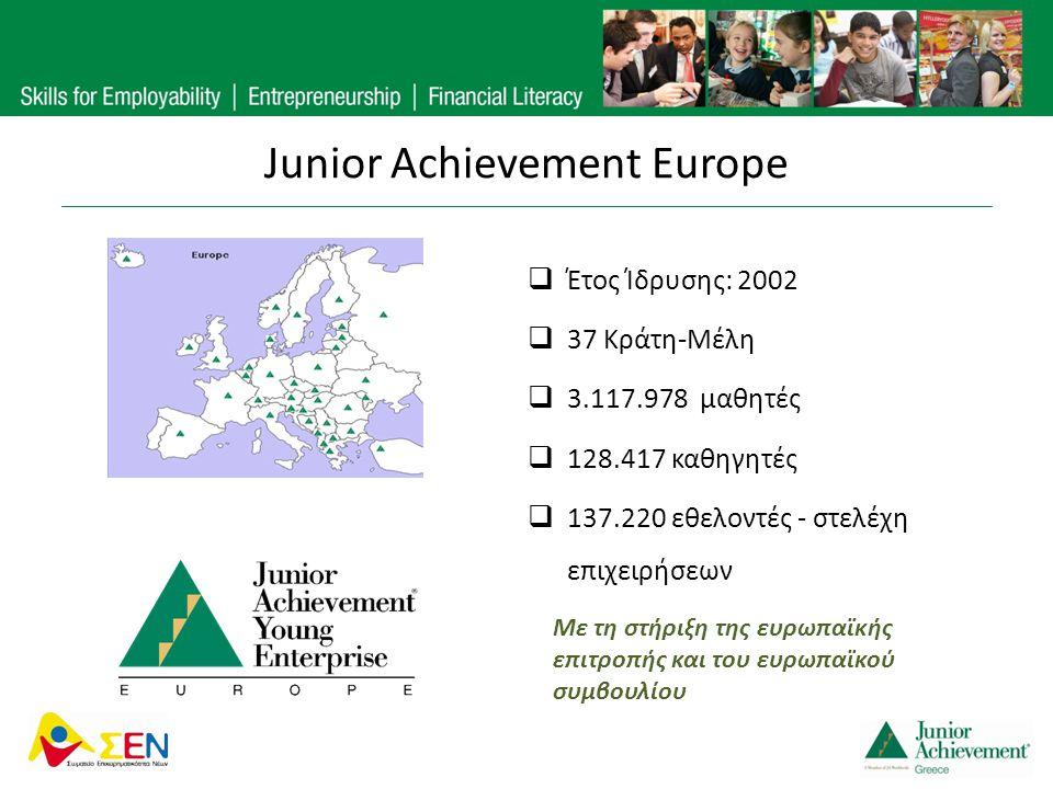 Junior Achievement Europe  Έτος Ίδρυσης: 2002  37 Κράτη-Μέλη  3.117.978 μαθητές  128.417 καθηγητές  137.220 εθελοντές - στελέχη επιχειρήσεων Με τ
