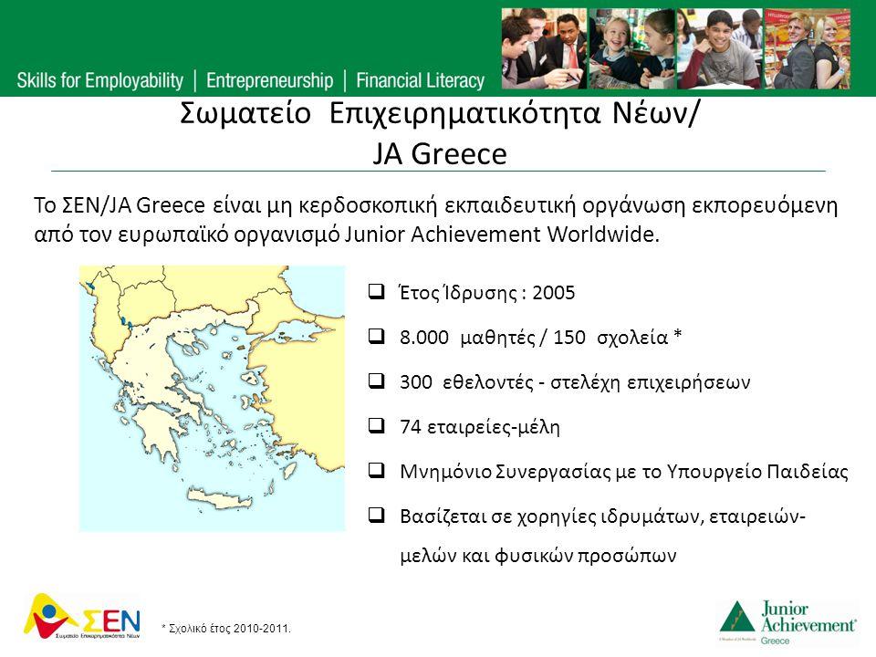 Σωματείο Επιχειρηματικότητα Νέων/ JA Greece  Έτος Ίδρυσης : 2005  8.000 μαθητές / 150 σχολεία *  300 εθελοντές - στελέχη επιχειρήσεων  74 εταιρείε