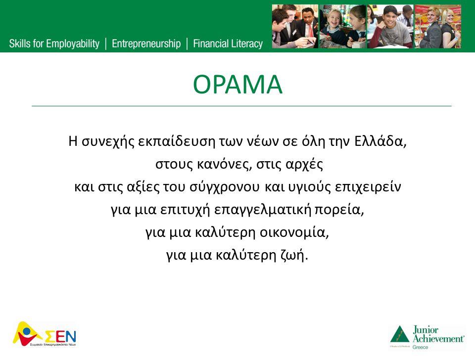 Η συνεχής εκπαίδευση των νέων σε όλη την Ελλάδα, στους κανόνες, στις αρχές και στις αξίες του σύγχρονου και υγιούς επιχειρείν για μια επιτυχή επαγγελμ