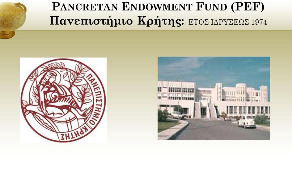 P ANCRETAN E NDOWMENT F UND (PEF) Πανεπιστήμιο Κρήτης: ΕΤΟΣ ΙΔΡΥΣΕΩΣ 1974