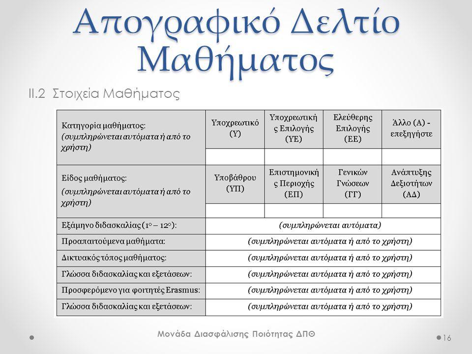 Απογραφικό Δελτίο Μαθήματος II.2 Στοιχεία Μαθήματος 16 Μονάδα Διασφάλισης Ποιότητας ΔΠΘ