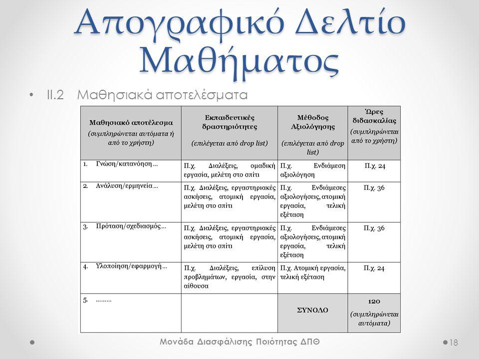 Απογραφικό Δελτίο Μαθήματος • ΙΙ.2Μαθησιακά αποτελέσματα 18 Μονάδα Διασφάλισης Ποιότητας ΔΠΘ