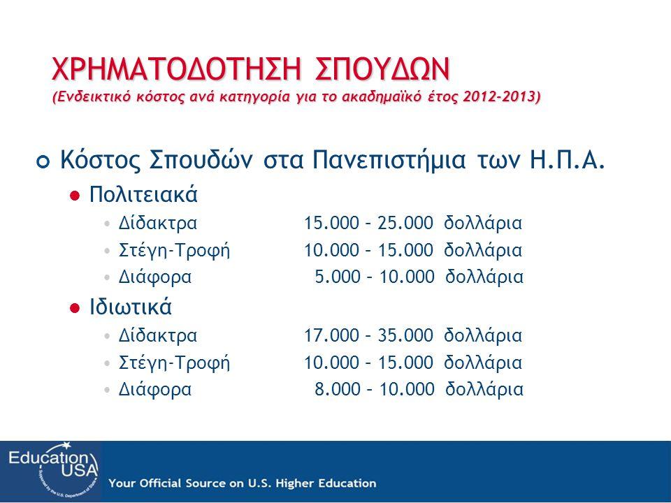 ΧΡΗΜΑΤΟΔΟΤΗΣΗ ΣΠΟΥΔΩΝ (Ενδεικτικό κόστος ανά κατηγορία για το ακαδημαϊκό έτος 2012-2013) Κόστος Σπουδών στα Πανεπιστήμια των Η.Π.Α.  Πολιτειακά •Δίδα