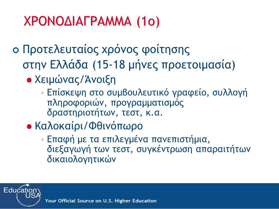 ΧΡΟΝΟΔΙΑΓΡΑΜΜΑ (1ο) Προτελευταίος χρόνος φοίτησης στην Ελλάδα (15-18 μήνες προετοιμασία)  Χειμώνας/Άνοιξη •Επίσκεψη στο συμβουλευτικό γραφείο, συλλογή πληροφοριών, προγραμματισμός δραστηριοτήτων, τεστ, κ.α.