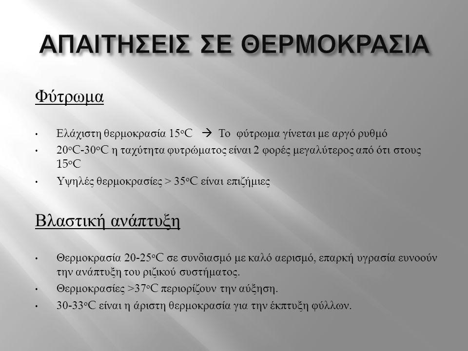 Φύτρωμα • Ελάχιστη θερμοκρασία 15 ο C  Το φύτρωμα γίνεται με αργό ρυθμό • 20 ο C-30 o C η ταχύτητα φυτρώματος είναι 2 φορές μεγαλύτερος από ότι στους
