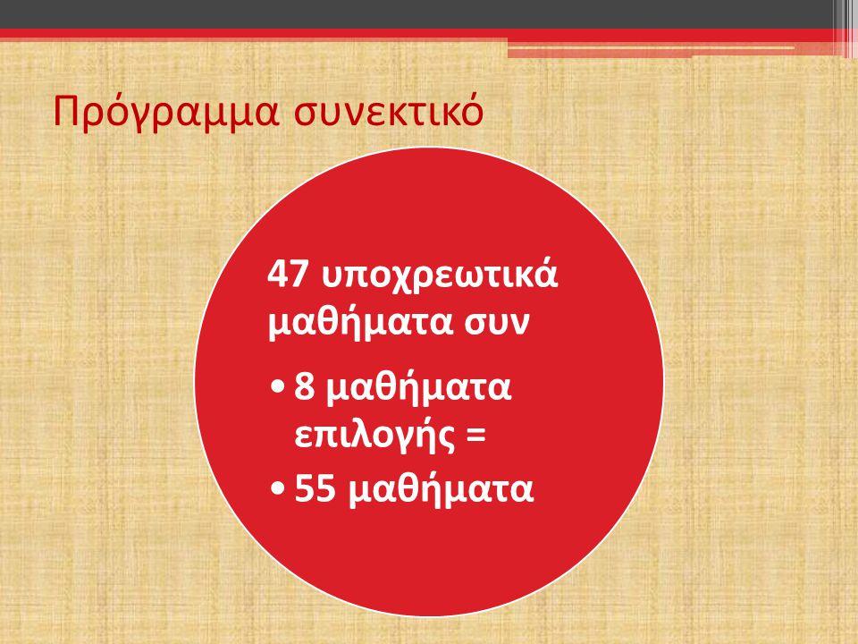 Το πρόγραμμα διαρθρώνεται σε 2 κύκλους συν την ομάδα των επιλεγομένων μαθημάτων Β΄Κύ κλος 21 ΥΕ 8 ΕΕ Α΄Κύ κλος 26 Υ