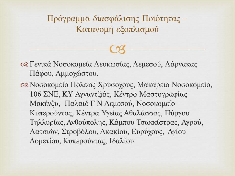   Γενικά Νοσοκομεία Λευκωσίας, Λεμεσού, Λάρνακας Πάφου, Αμμοχώστου.