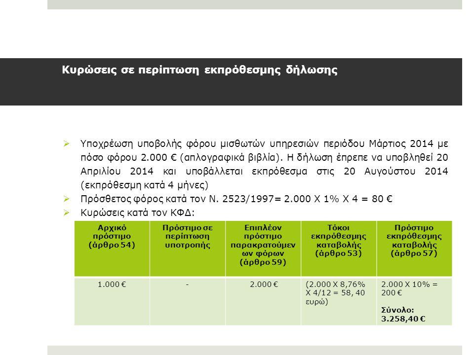 Κυρώσεις σε περίπτωση εκπρόθεσμης δήλωσης  Υποχρέωση υποβολής φόρου μισθωτών υπηρεσιών περιόδου Μάρτιος 2014 με πόσο φόρου 2.000 € (απλογραφικά βιβλί