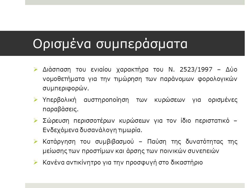 Ορισμένα συμπεράσματα  Διάσπαση του ενιαίου χαρακτήρα του Ν. 2523/1997 – Δύο νομοθετήματα για την τιμώρηση των παράνομων φορολογικών συμπεριφορών. 