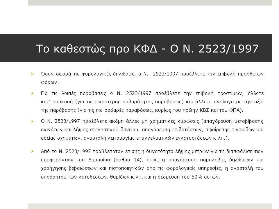 Το καθεστώς προ ΚΦΔ - Ο Ν. 2523/1997  Όσον αφορά τις φορολογικές δηλώσεις, ο Ν. 2523/1997 προέβλεπε την επιβολή προσθέτων φόρων.  Για τις λοιπές παρ