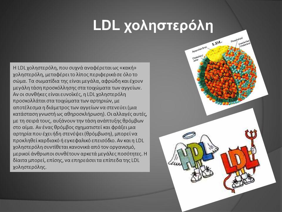 Η LDL χοληστερόλη, που συχνά αναφέρεται ως «κακή» χοληστερόλη, μεταφέρει το λίπος περιφερικά σε όλο το σώμα. Τα σωματίδια της είναι μεγάλα, αφρώδη και