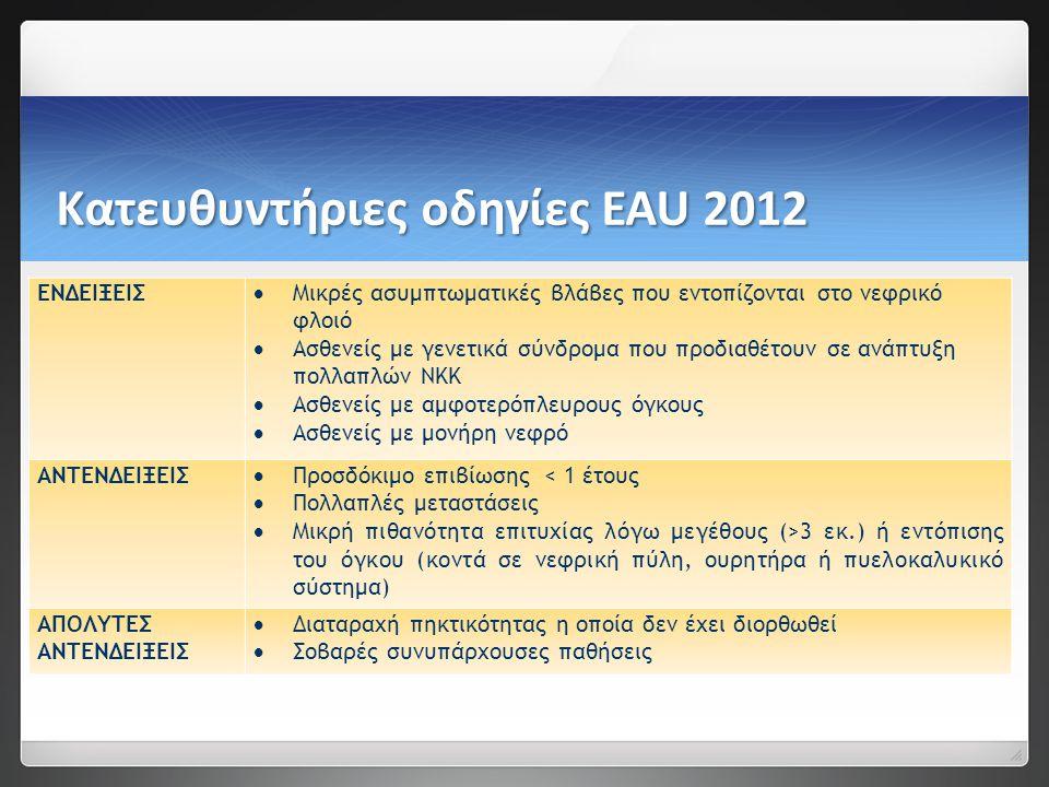Κατευθυντήριες οδηγίες EAU 2012 ΕΝΔΕΙΞΕΙΣ  Μικρές ασυμπτωματικές βλάβες που εντοπίζονται στο νεφρικό φλοιό  Ασθενείς με γενετικά σύνδρομα που προδιαθέτουν σε ανάπτυξη πολλαπλών ΝΚΚ  Ασθενείς με αμφοτερόπλευρους όγκους  Ασθενείς με μονήρη νεφρό ΑΝΤΕΝΔΕΙΞΕΙΣ  Προσδόκιμο επιβίωσης < 1 έτους  Πολλαπλές μεταστάσεις  Μικρή πιθανότητα επιτυχίας λόγω μεγέθους (>3 εκ.) ή εντόπισης του όγκου (κοντά σε νεφρική πύλη, ουρητήρα ή πυελοκαλυκικό σύστημα) ΑΠΟΛΥΤΕΣ ΑΝΤΕΝΔΕΙΞΕΙΣ  Διαταραχή πηκτικότητας η οποία δεν έχει διορθωθεί  Σοβαρές συνυπάρχουσες παθήσεις