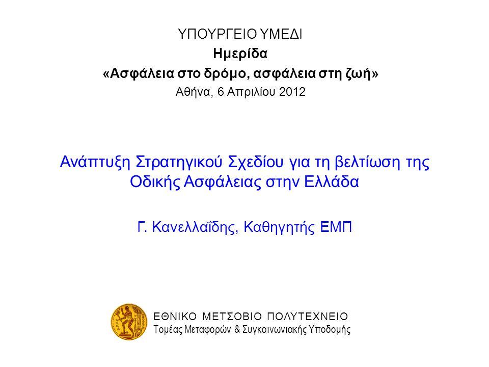 ΥΠΟΥΡΓΕΙΟ ΥΜΕΔΙ Ημερίδα «Ασφάλεια στο δρόμο, ασφάλεια στη ζωή» Αθήνα, 6 Απριλίου 2012 Ανάπτυξη Στρατηγικού Σχεδίου για τη βελτίωση της Οδικής Ασφάλεια